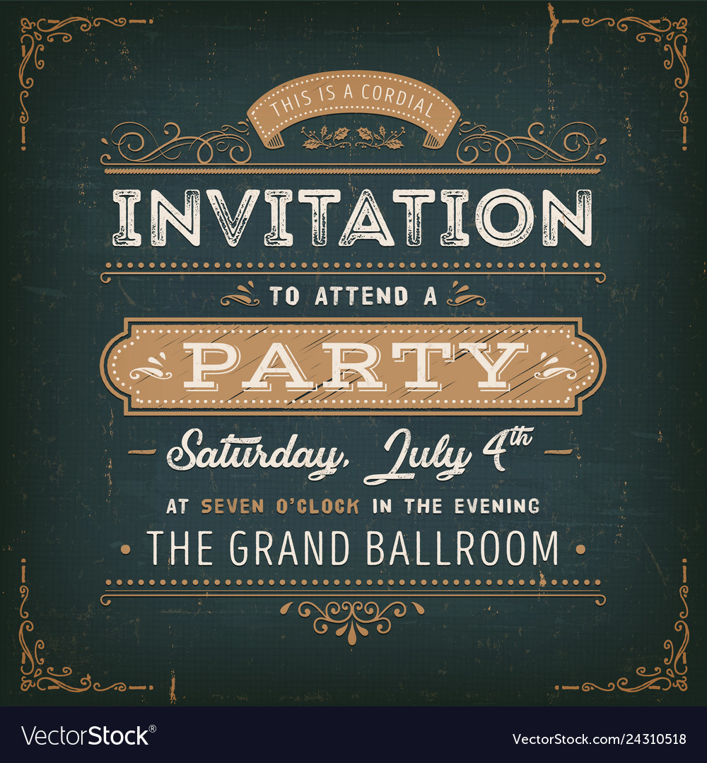 Vintage party invitation card on chalkboard Vector Image