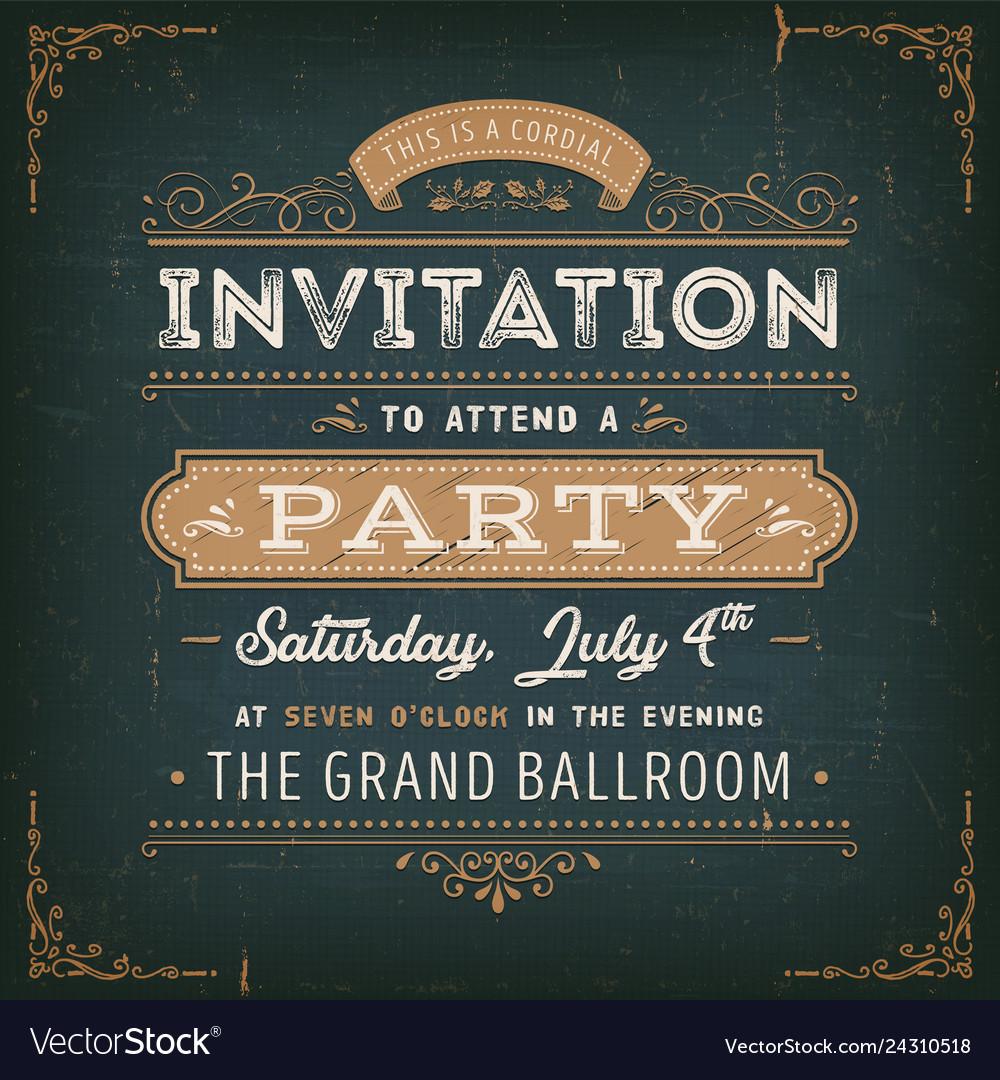 Vintage Party Invitation Card On Chalkboard