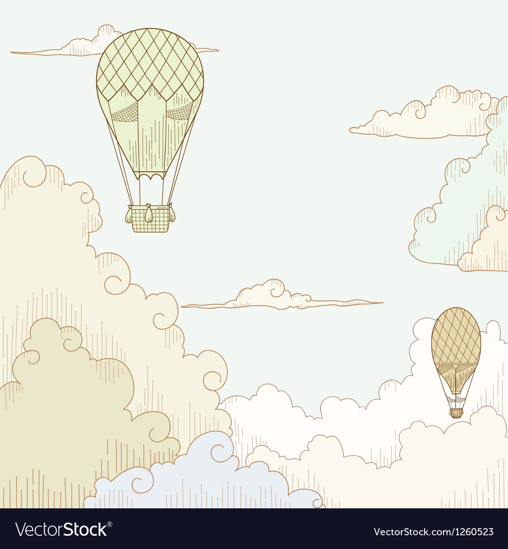 Abstract background with balloon and clouds