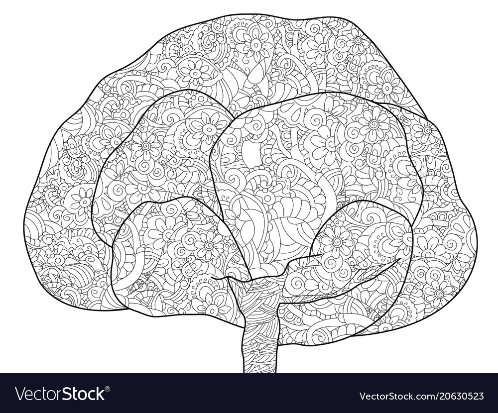 Adult antistress coloring tree of
