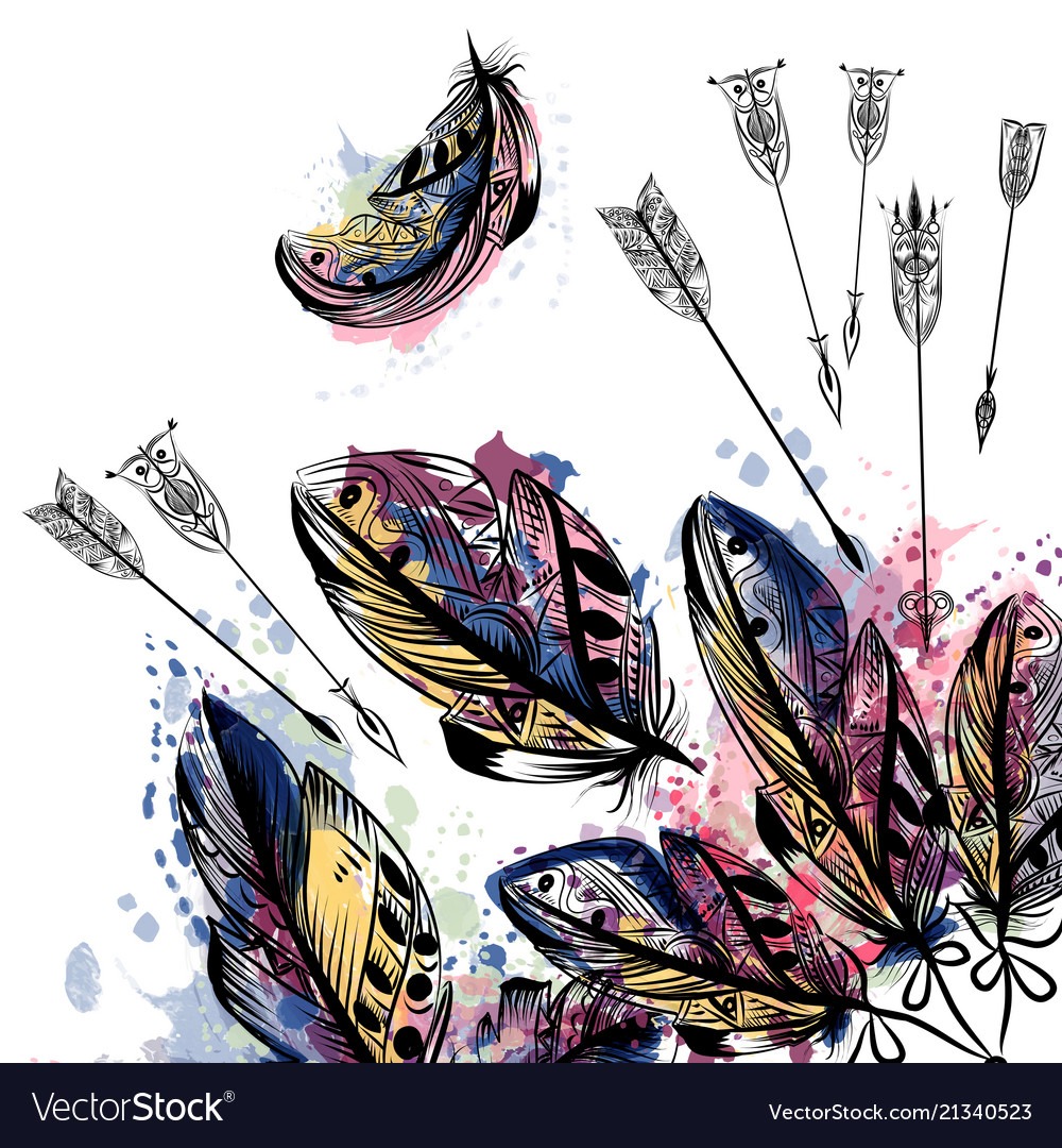 Background with hand drawn feathers in boho style