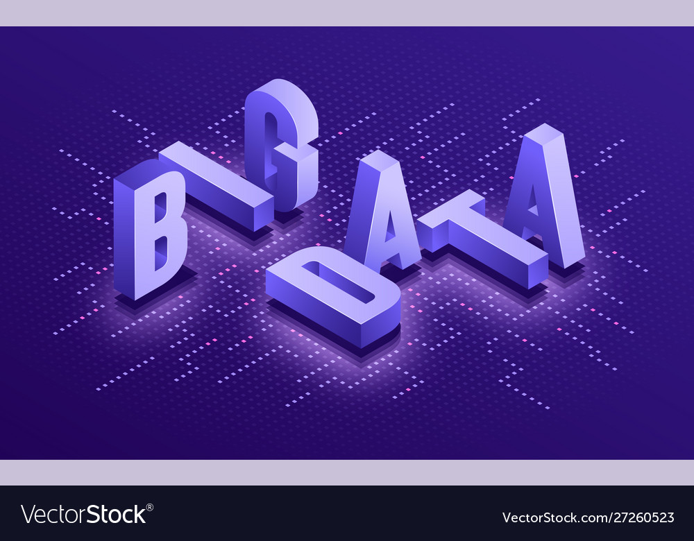 Big data isometric typographic technology