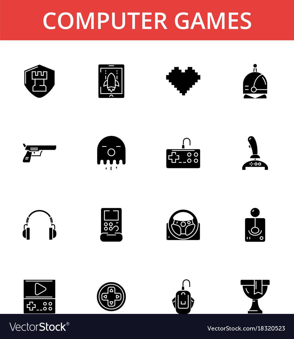 Computer games thin line icons