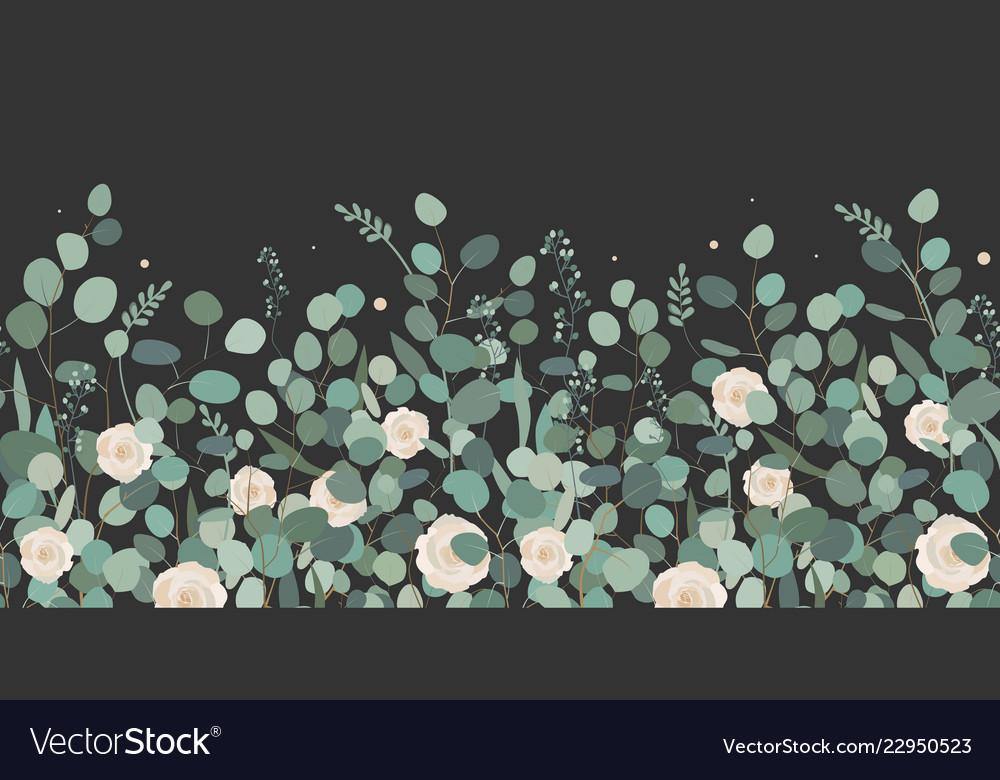 Elegant seamless border from roses and eucalyptus