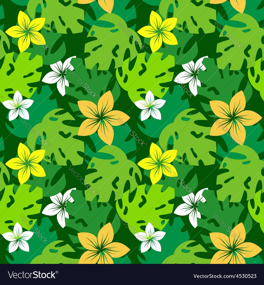 Frangipani with monstera leaves pattern