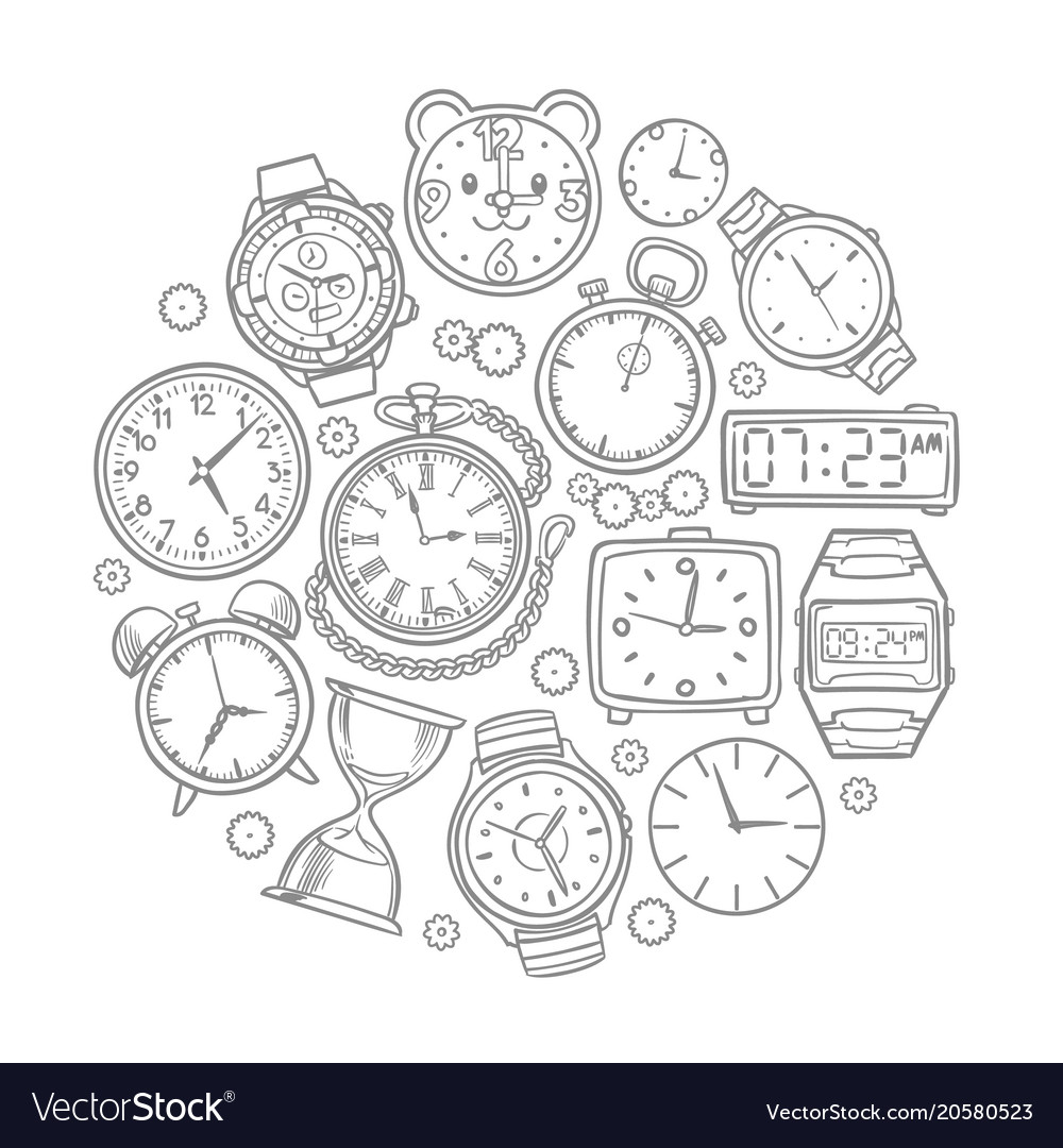 Hand drawn clock wrist watch doodles time