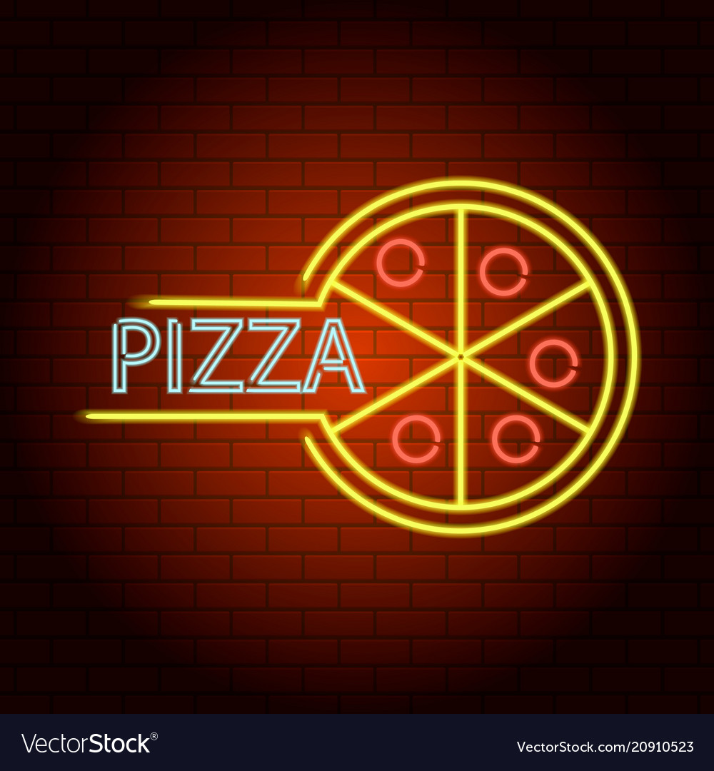 Pizza neon light icon realistic style