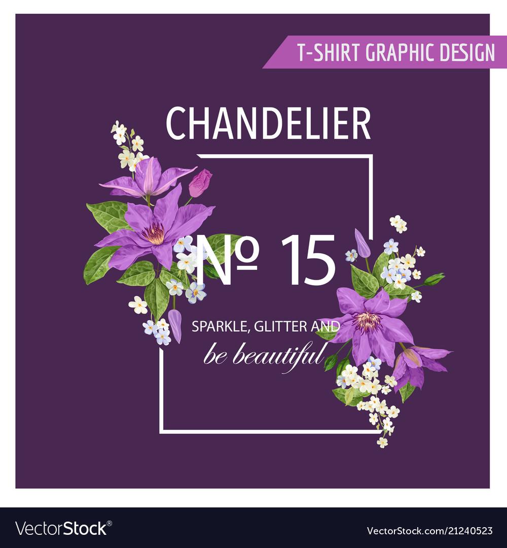 Romantic summer floral design clematis flowers