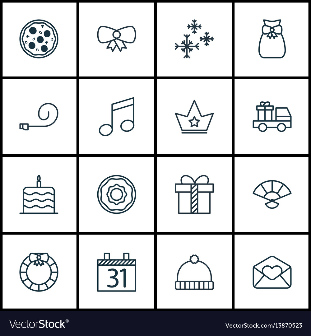 Set of 16 christmas icons includes lorry birthday