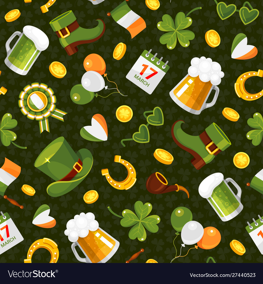 St patricks day flat color seamless