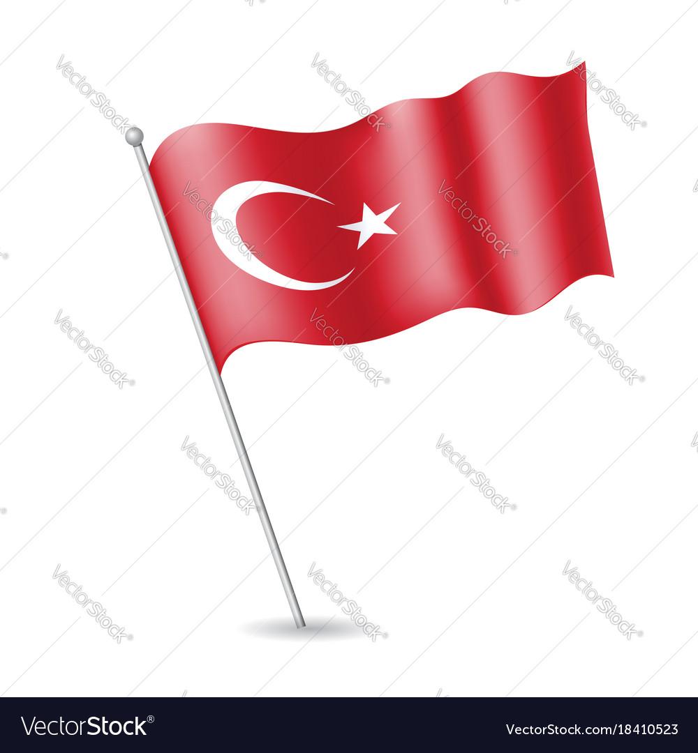 Turkish flag on the flagstaff