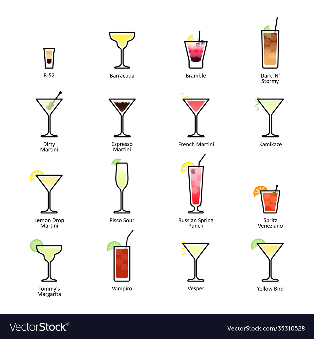 Alcoholic Cocktails With Titles Iba Official Vector Image