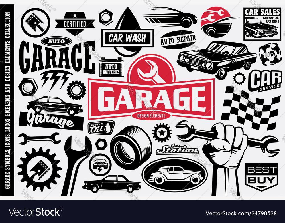 Car service and garage symbols