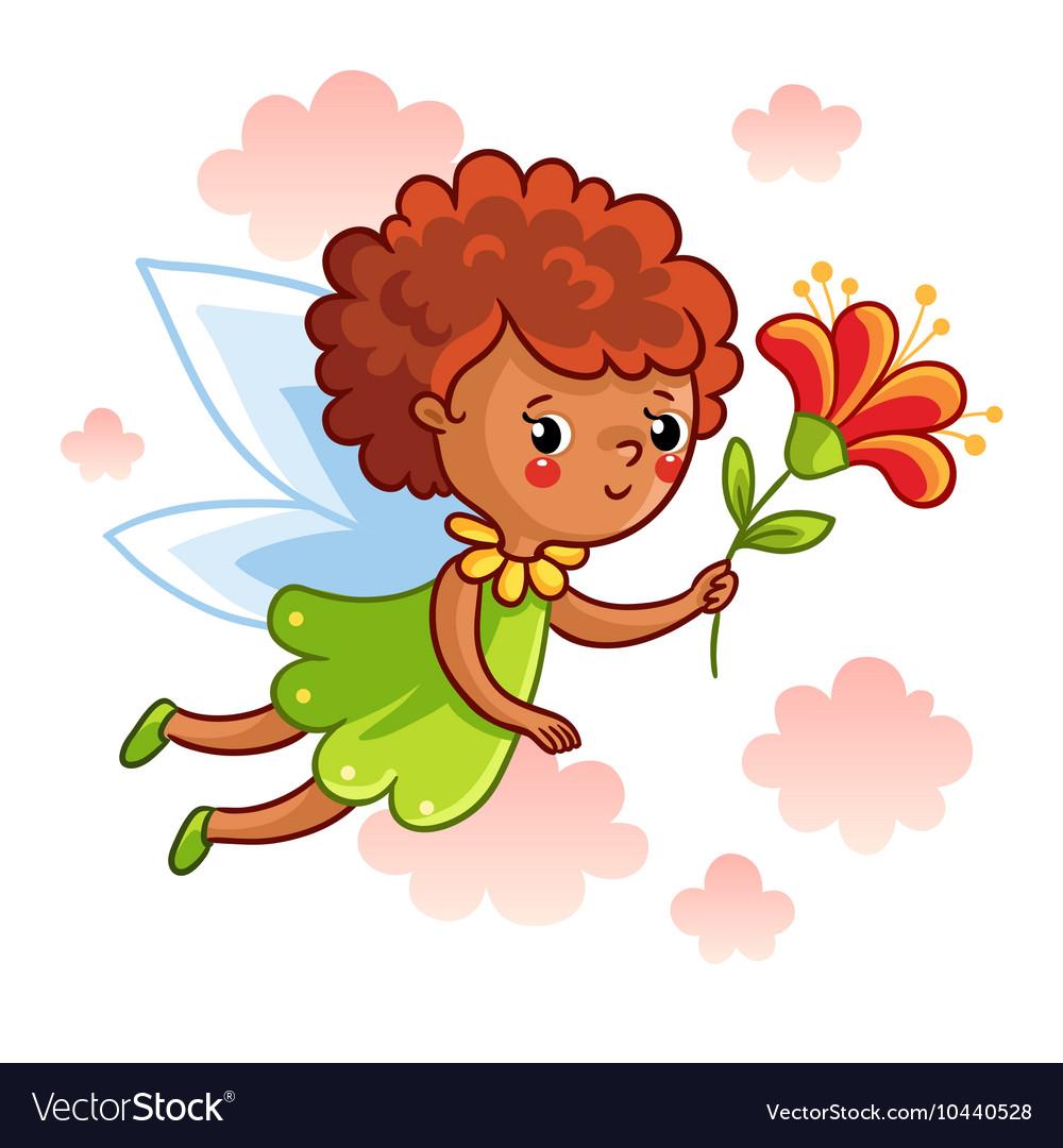 Cute dark-skinned fairy flying on the wings