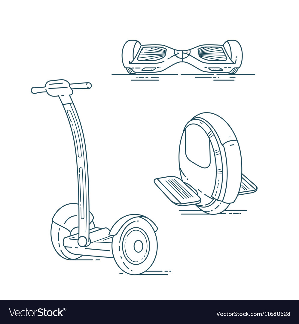 Electric Scooters Line Set Royalty Free Vector Image