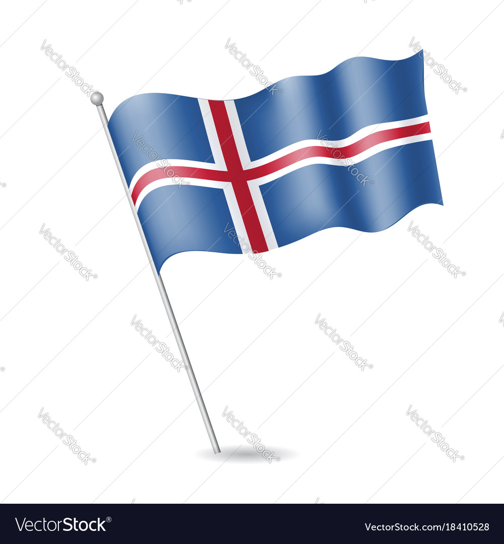 Flag of iceland on the flagstaff