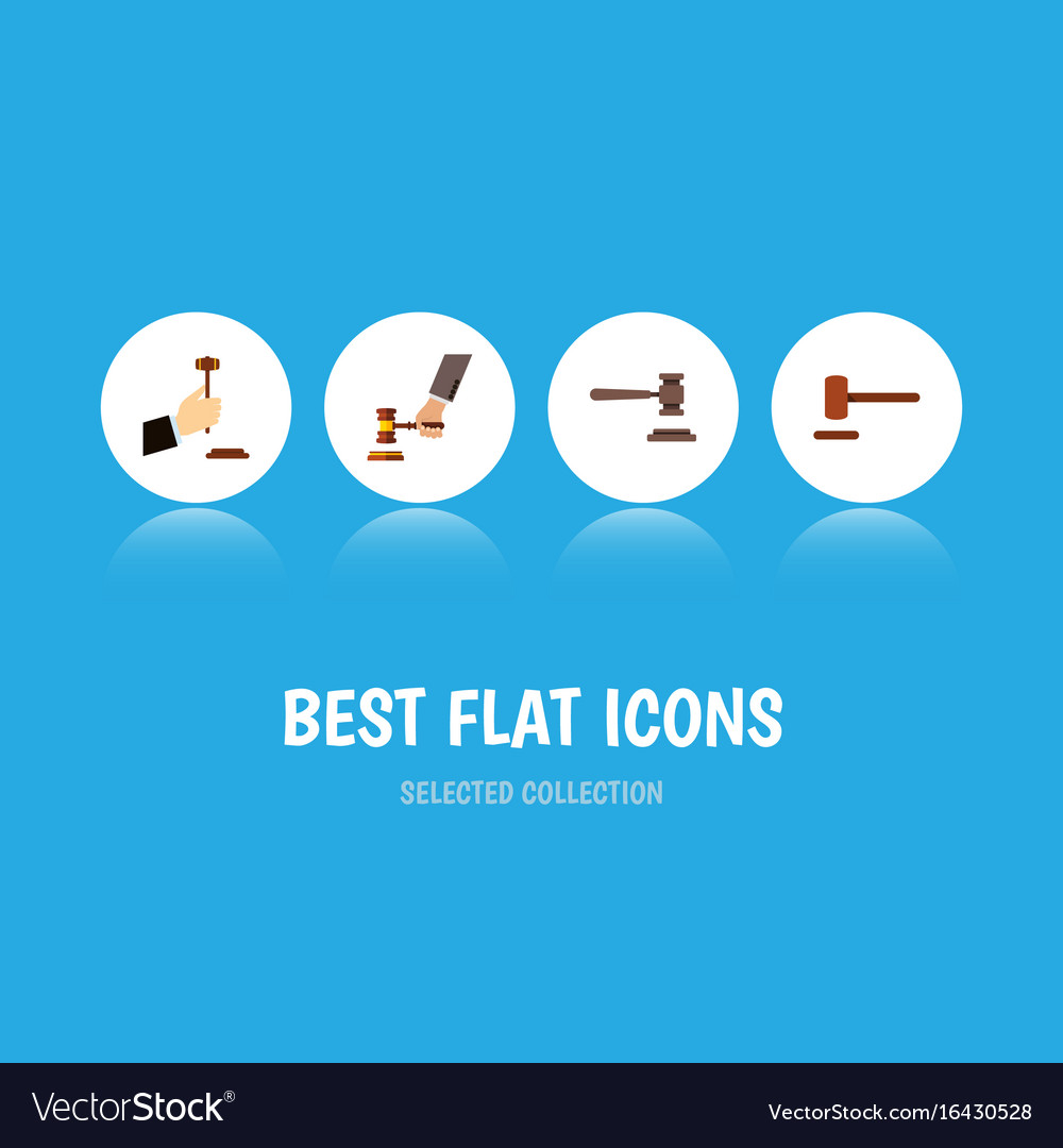 Flat icon hammer set of crime law legal and vector image