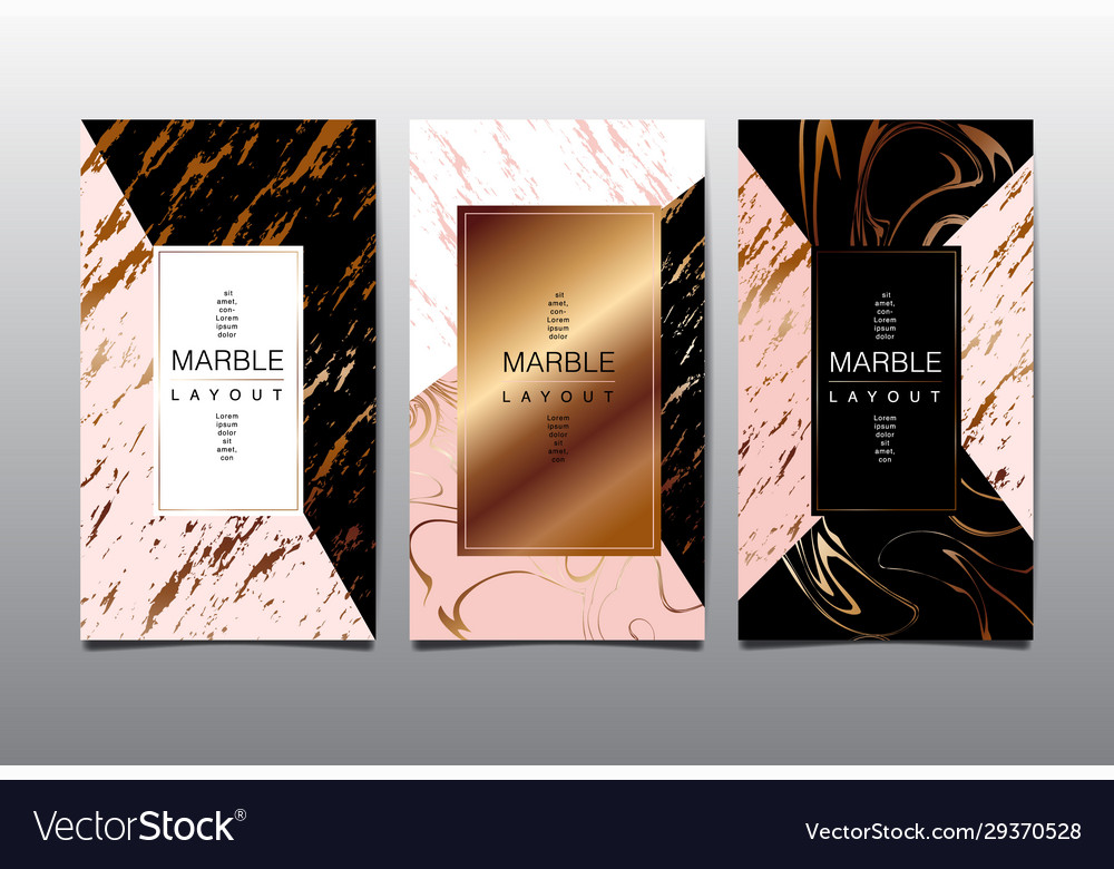 Gold black white marble template covers design