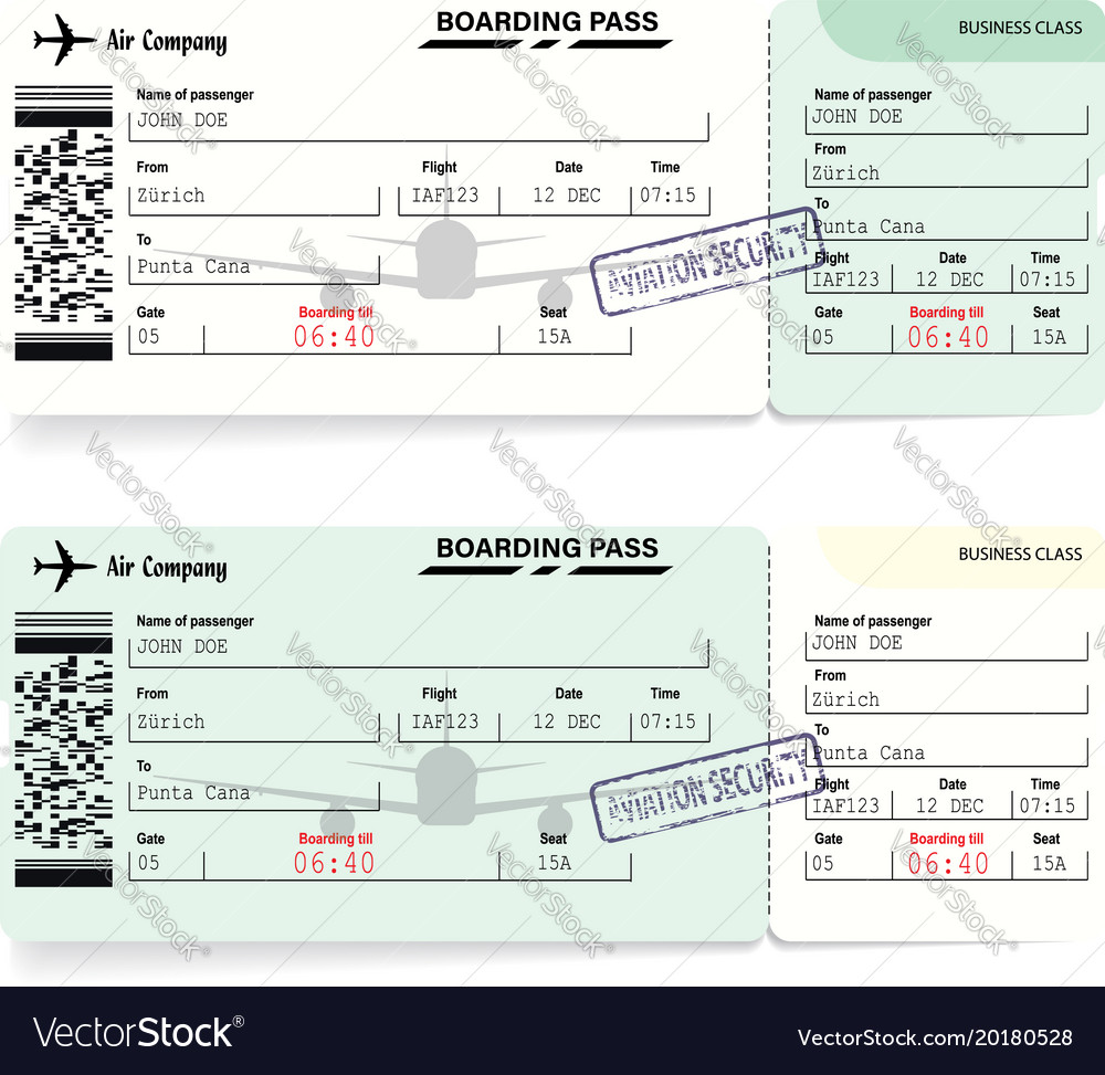 Green airline boarding pass tickets for traveling vector image