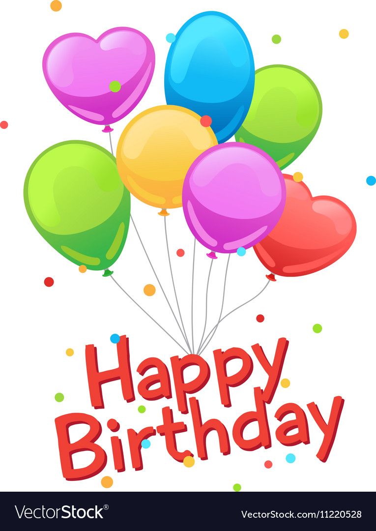 Happy Birthday Balloons Card Template Vector Image