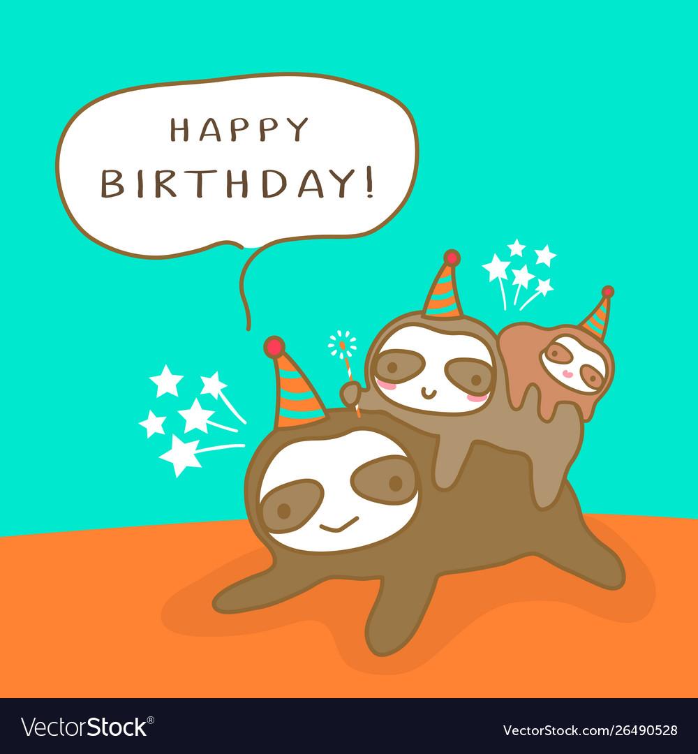 Happy sloth family cartoon humor birthday card