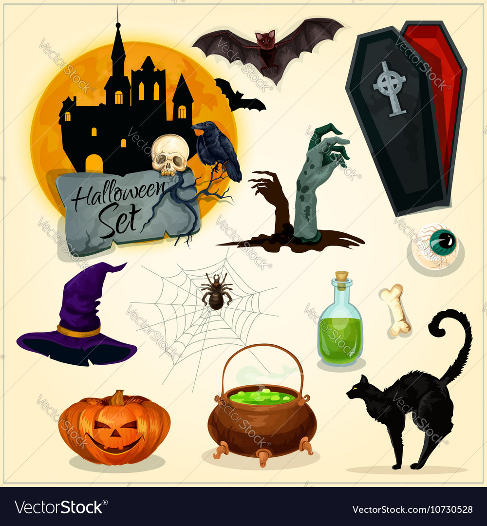 Horror decoration elements for Halloween design