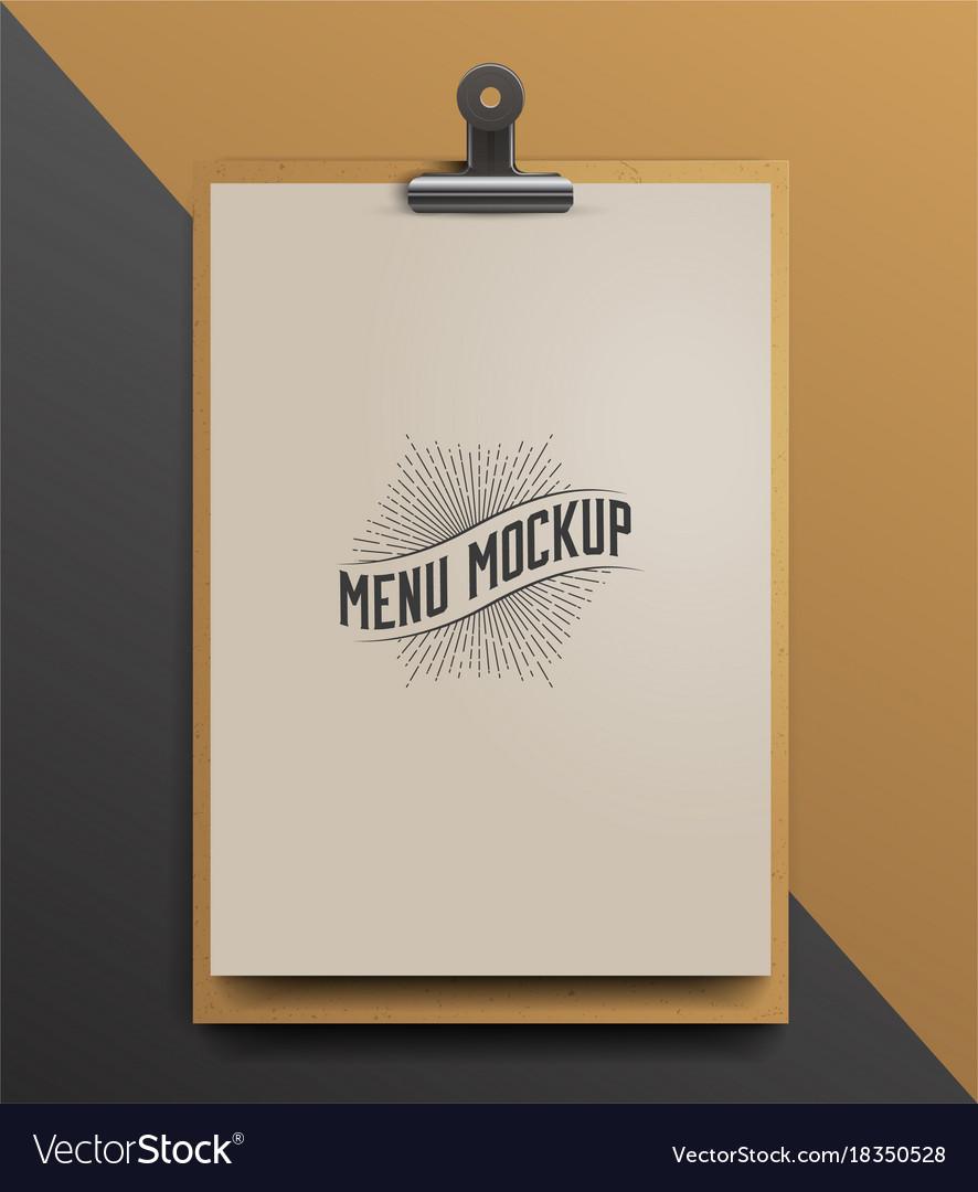 menu template mock up realistic royalty free vector image