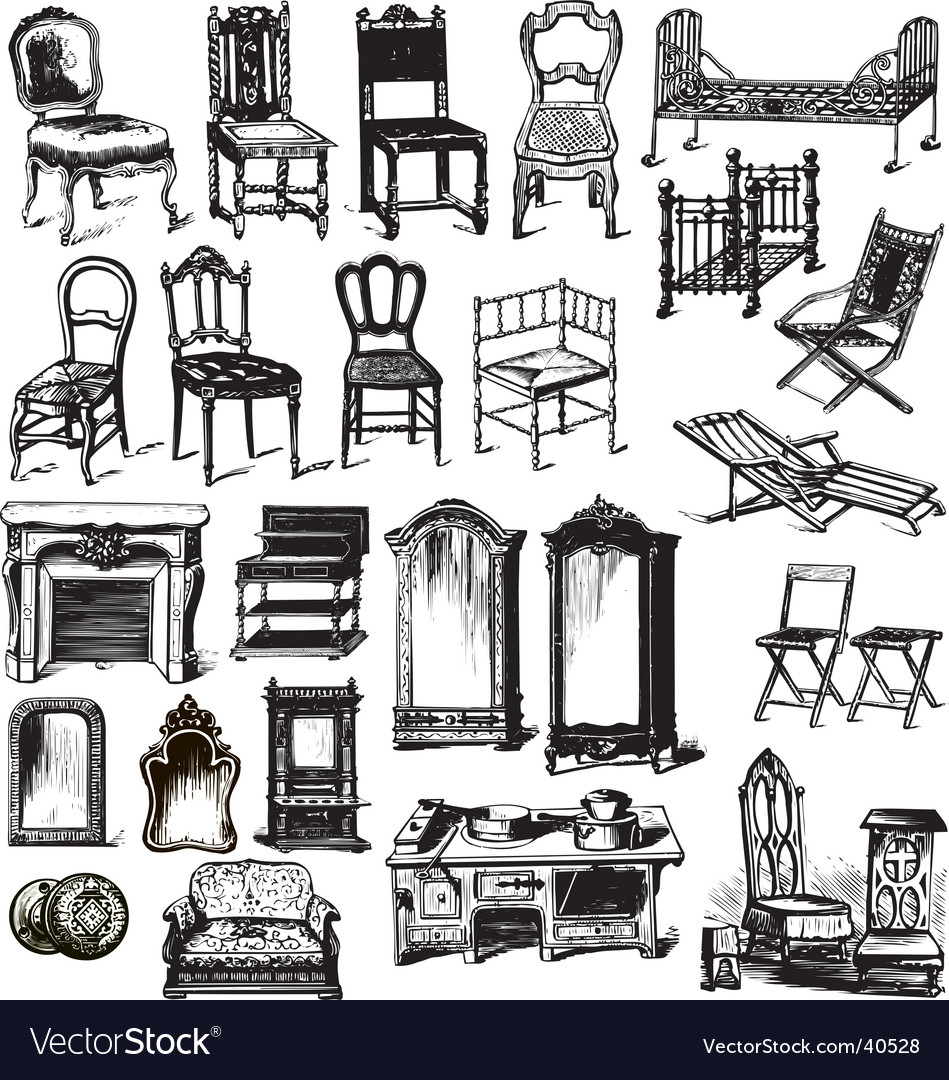 Old furniture vector image