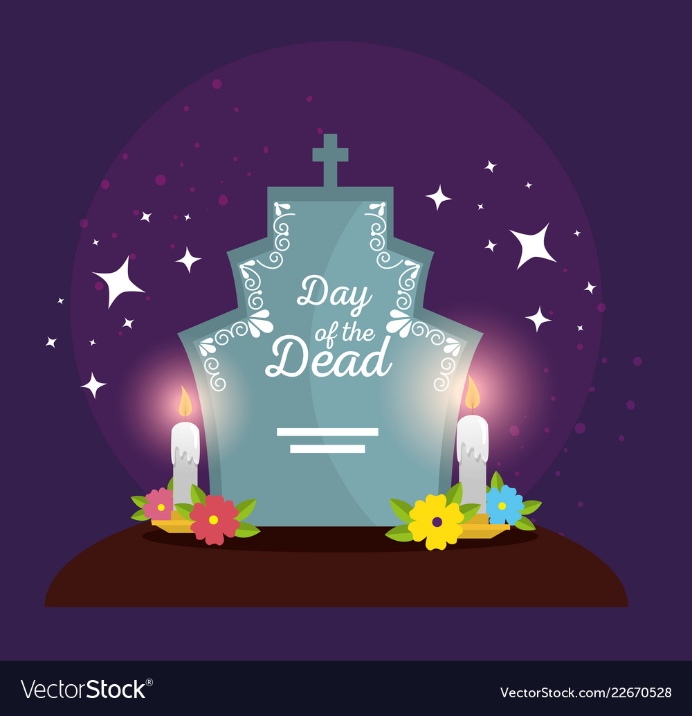 Rip with flowers and candles to celebrate day of Vector Image