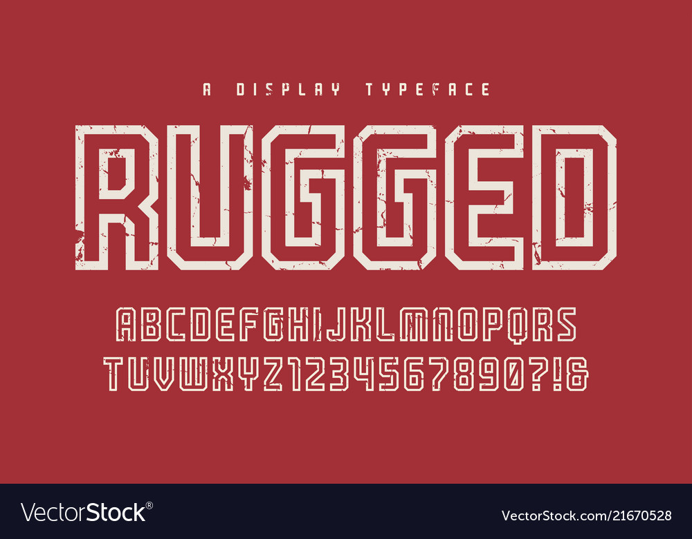 Rugged display typeface font uppercase