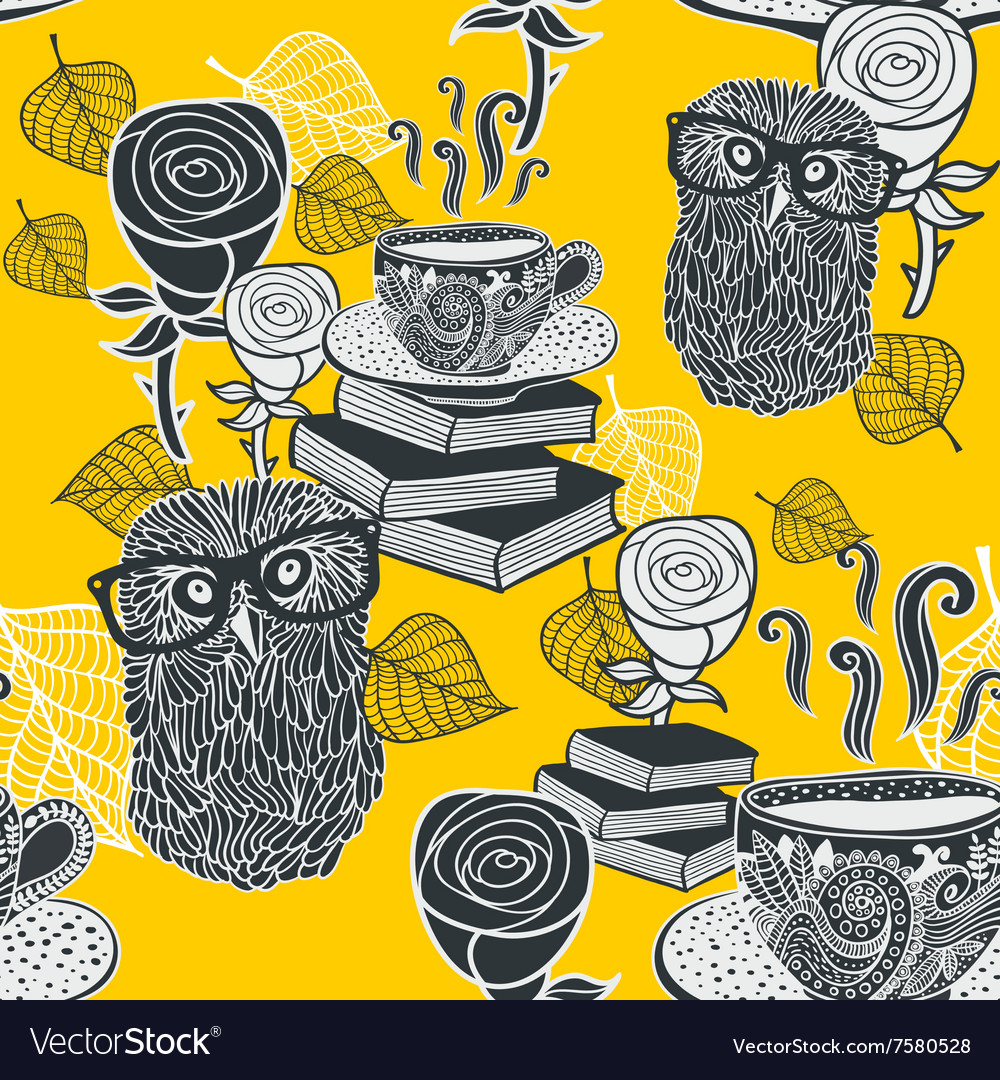 Seamless background with hot tea and clever owls