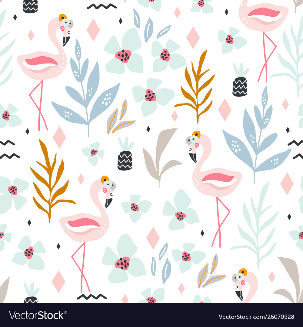 Seamless tropical pattern with flamingos flowers