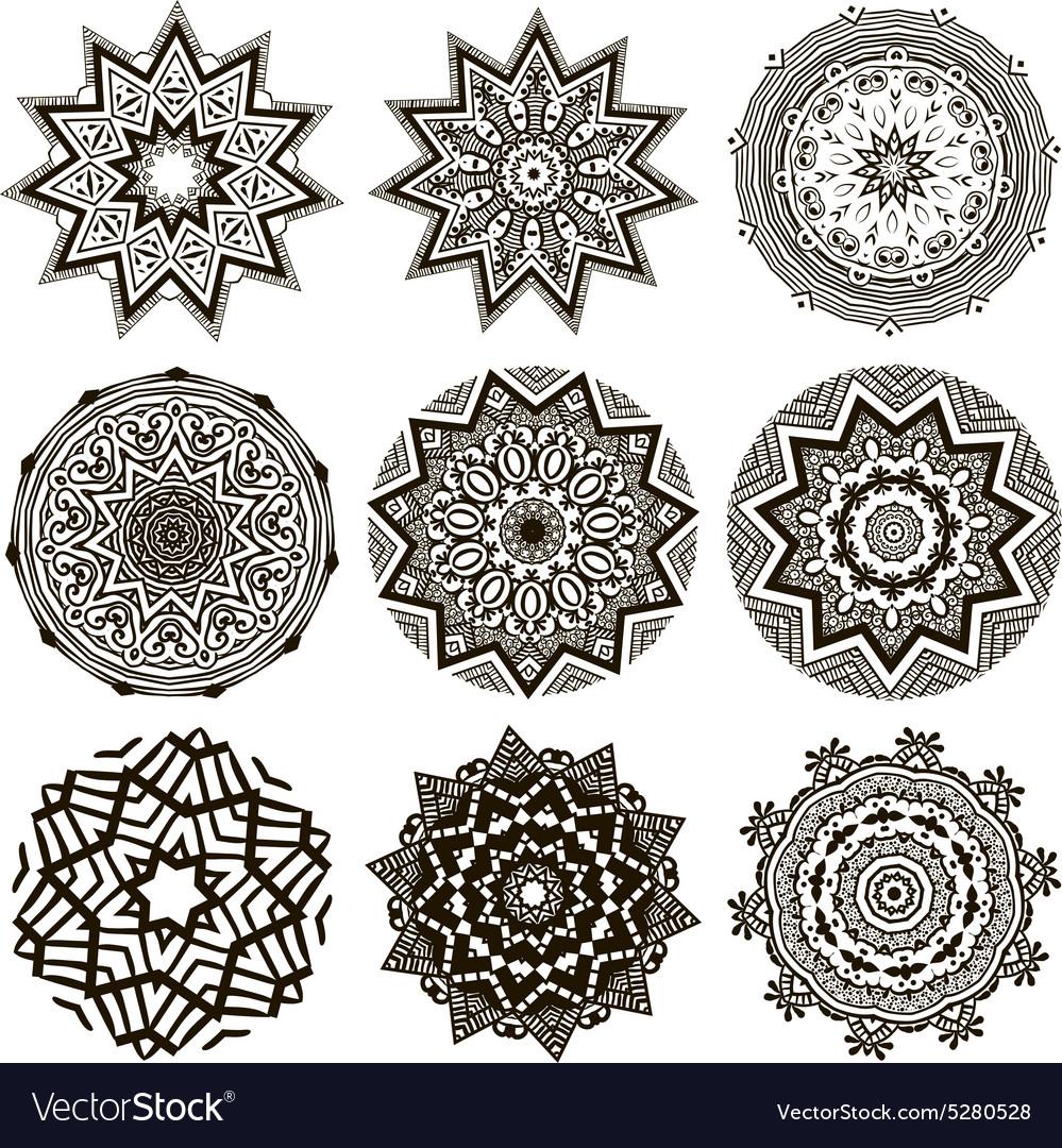Set of black and white mandalas