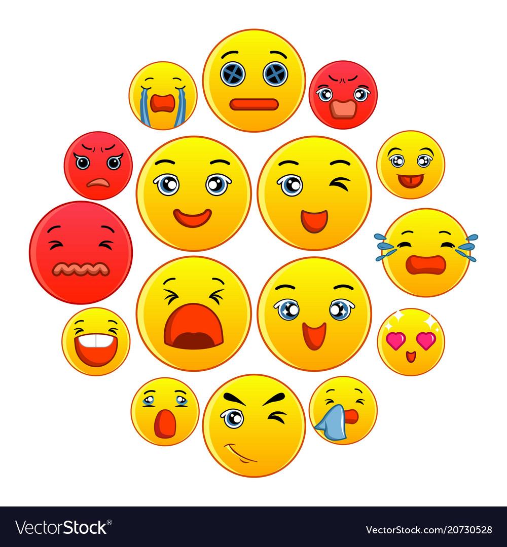 Smiles icons set cartoon style
