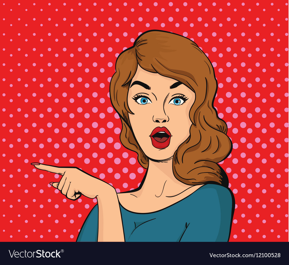 Surprised young woman pointing her finger