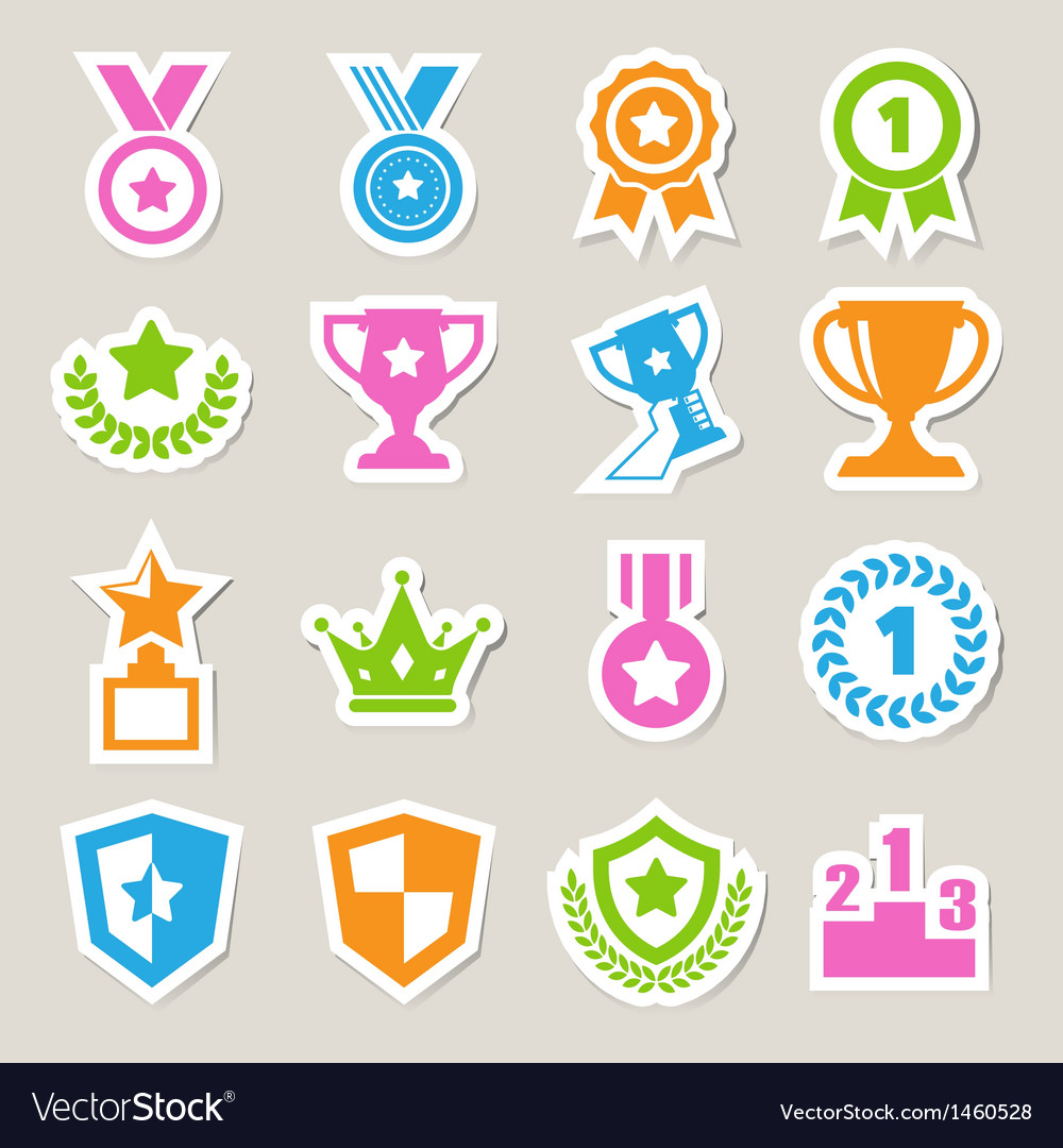 Trophy and awards icons set eps10