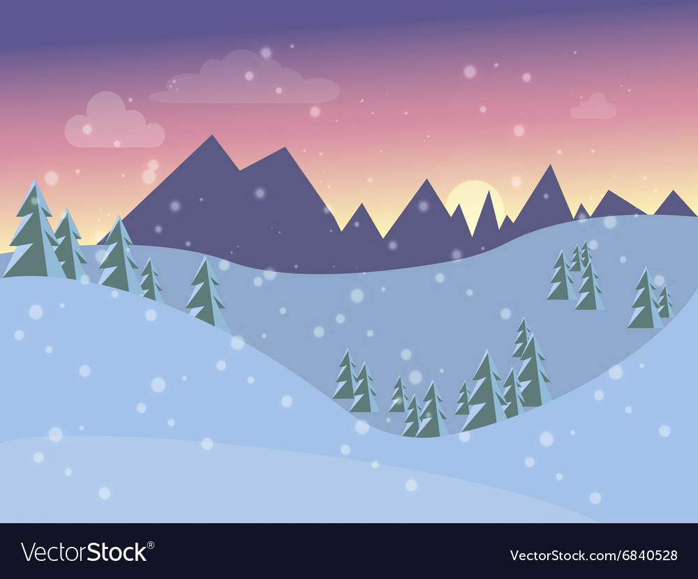 705502dbab39ab Winter landscape for the postcard into flat style Vector Image