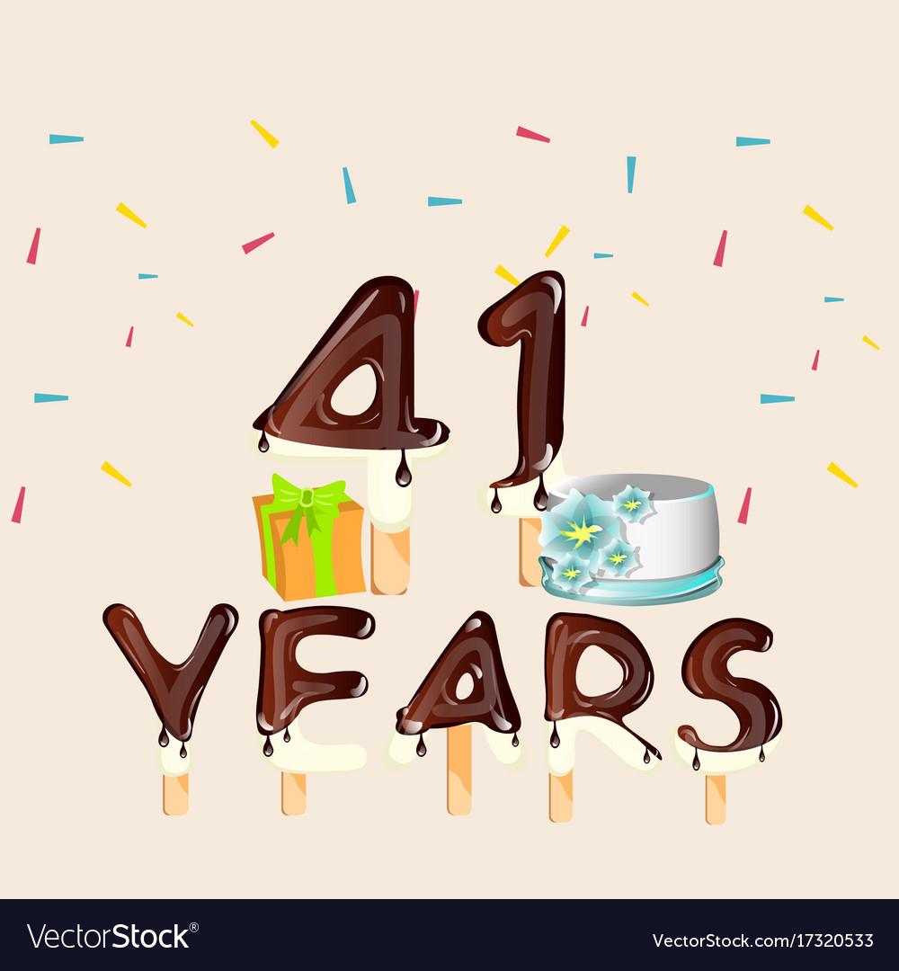 41 Years Happy Birthday Card Royalty Free Vector Image