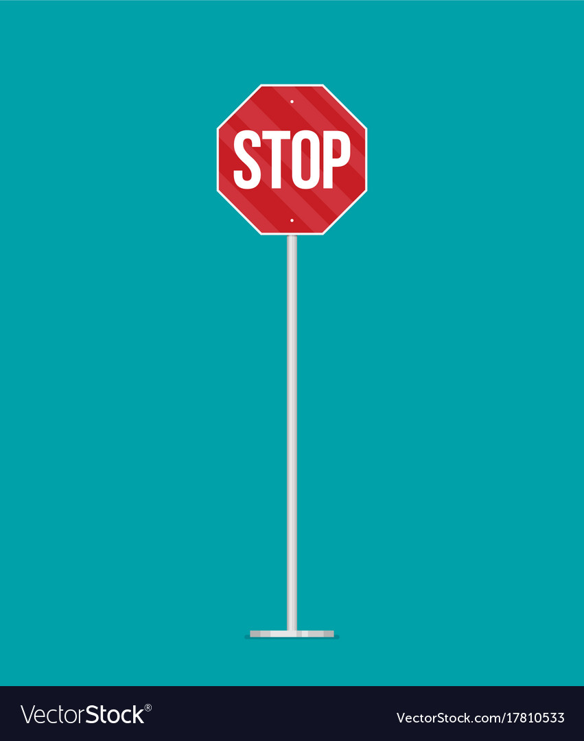 A stop sign on a pole in flat style