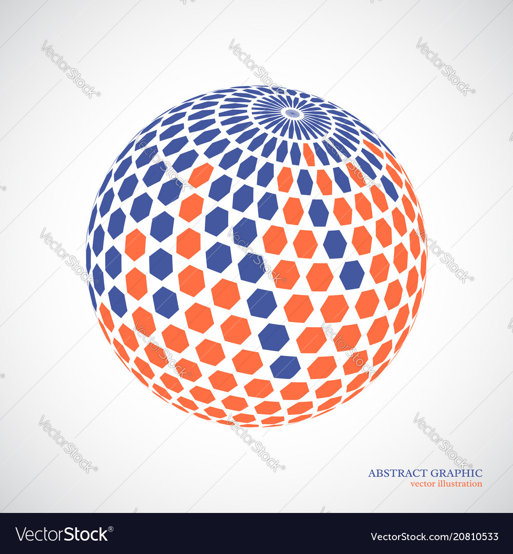 Abstract globe sphere 3d hexagon effect red blue vector image