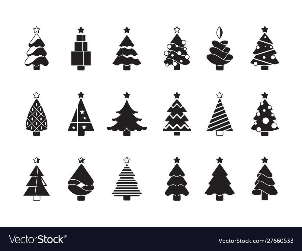 Christmas tree silhouette simple symbols xmas