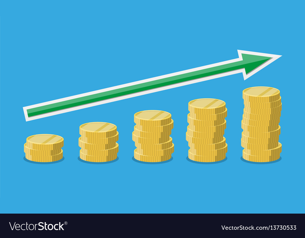 Coins stacks with arrow upwards