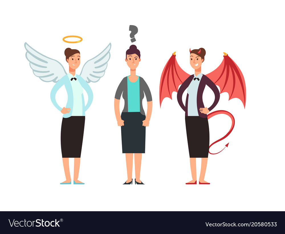 Confused woman with angel and devil over shoulders