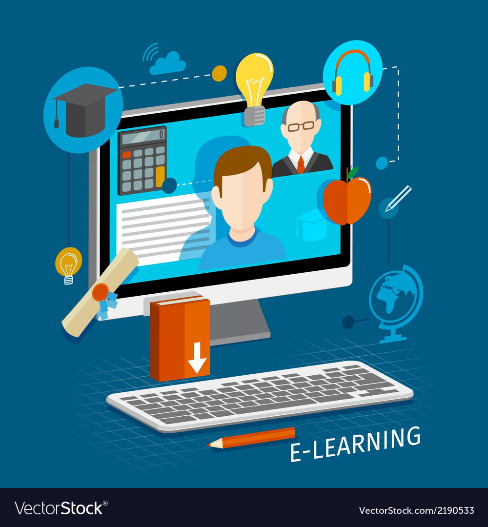 E Learning Flat Poster Royalty Free Vector Image
