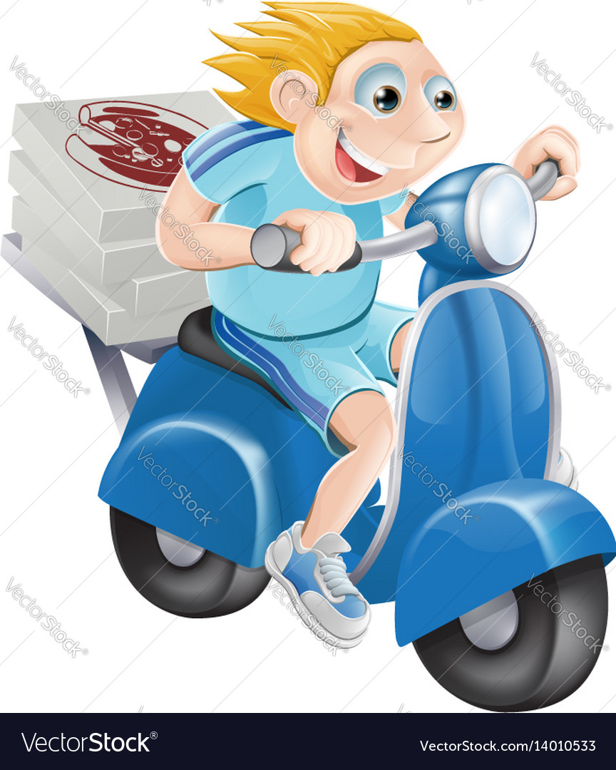 Fast pizza delivery man vector image