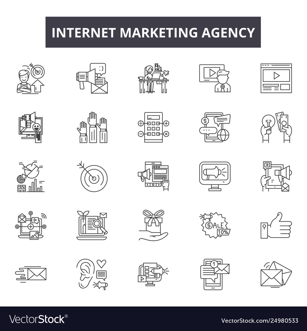 Internet marketing agency line icons signs