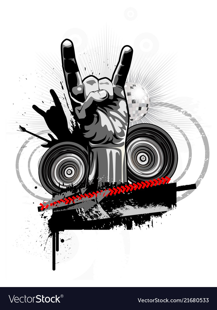 Poster on a theme of rock music in a grunge style