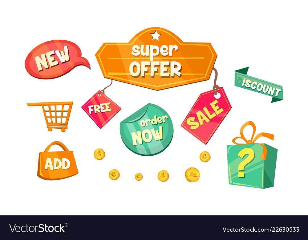 Promotional badges and sale tags set super offer