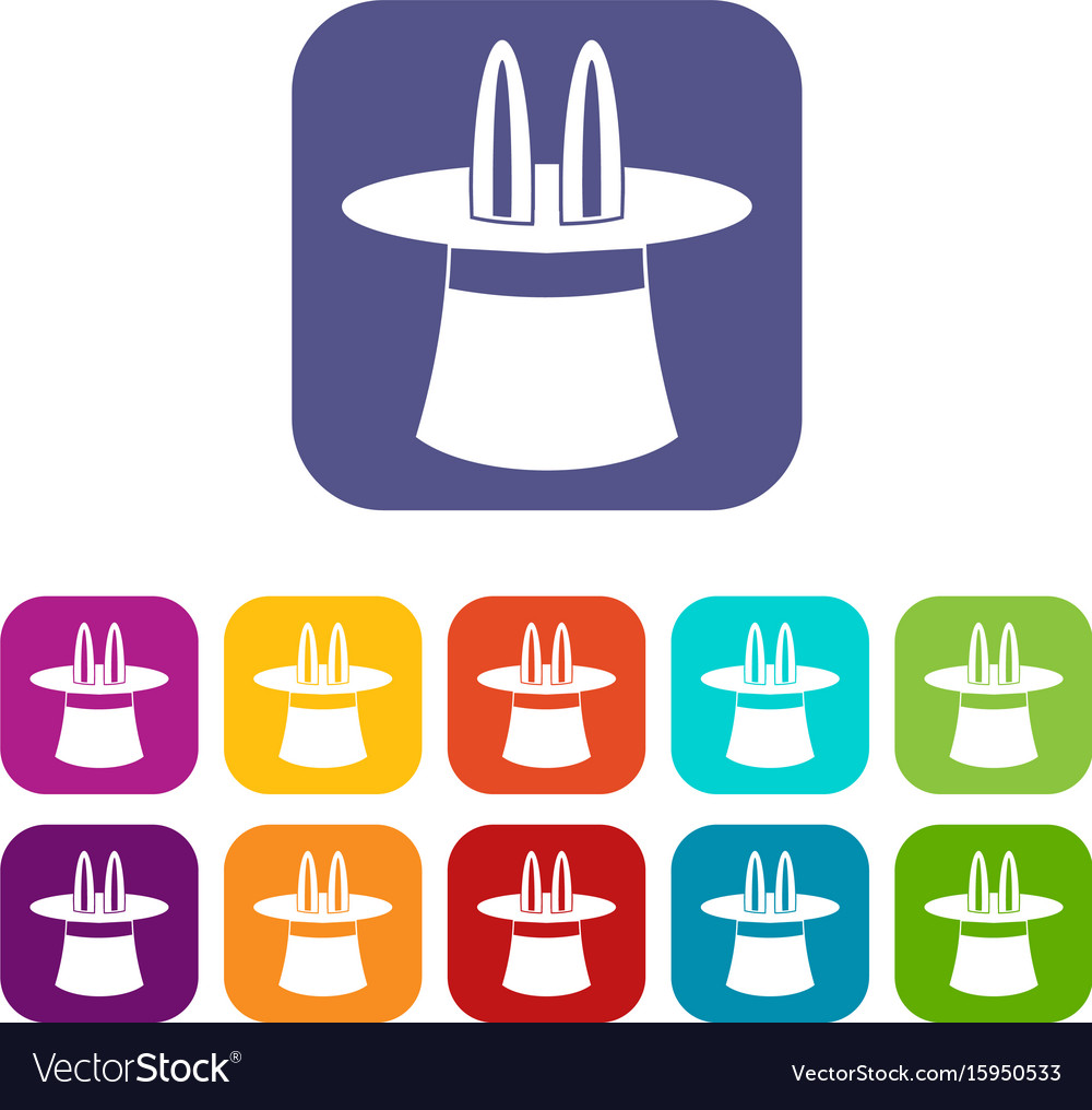 Rabbit ears appearing from a top magic hat icons