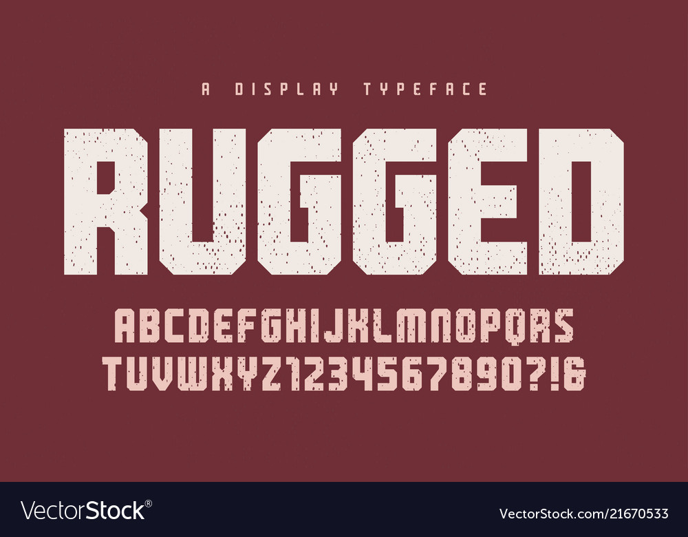 Rugged heavy display typeface font